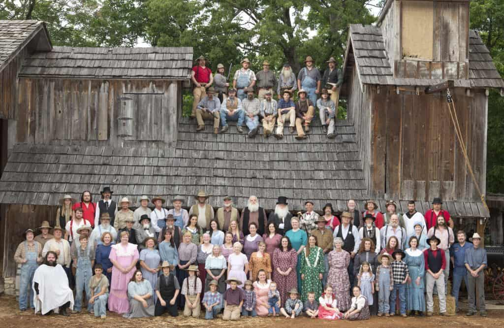 Large group photo of the outdoor drama cast