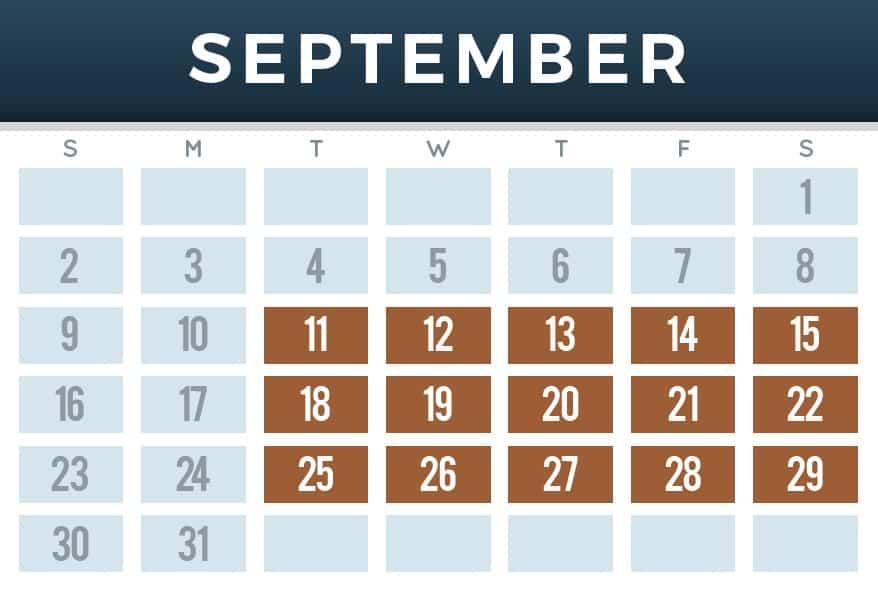 September schedule calendar