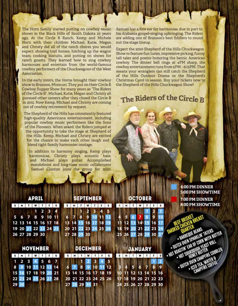 2020 Shepherd's Chuckwagon DInner Show Calendar