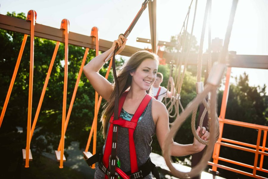 Girl smiling on ropes course