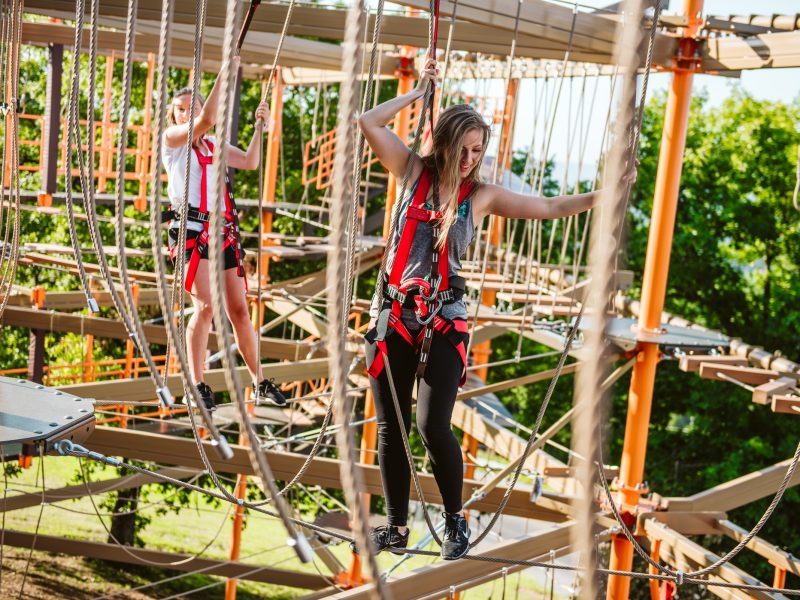 Two girls on ropes course
