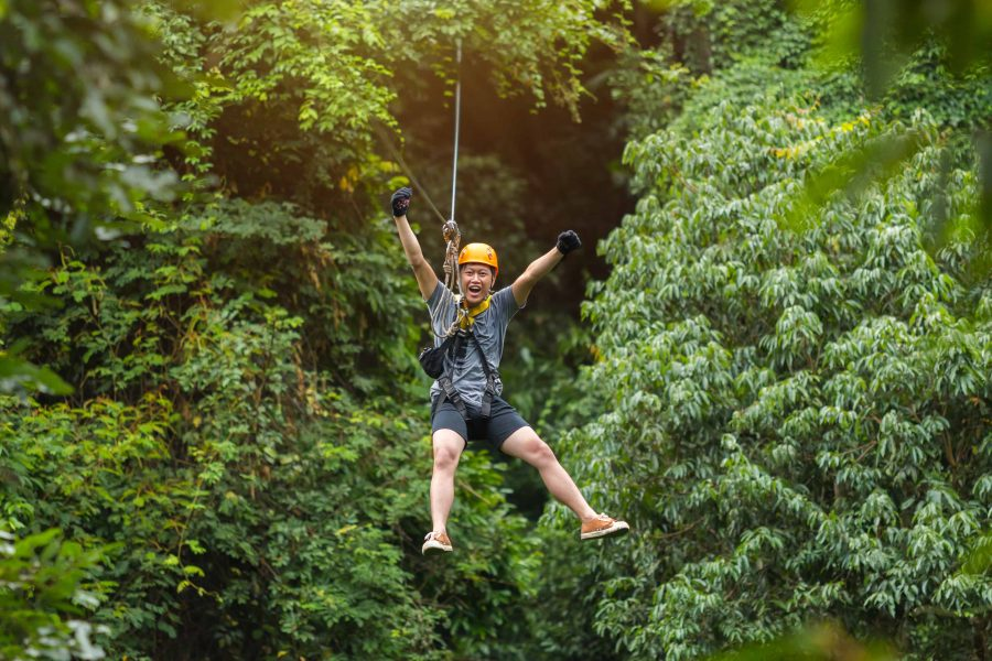 Man riding zipline